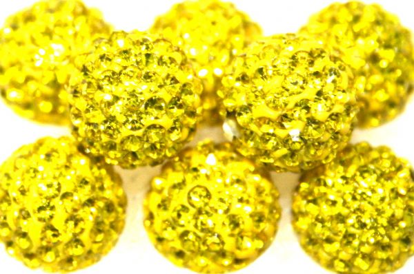 12mm Bright Yellow 130 Stone  Pave Crystal Beads- 2 Hole PCB12-130-016